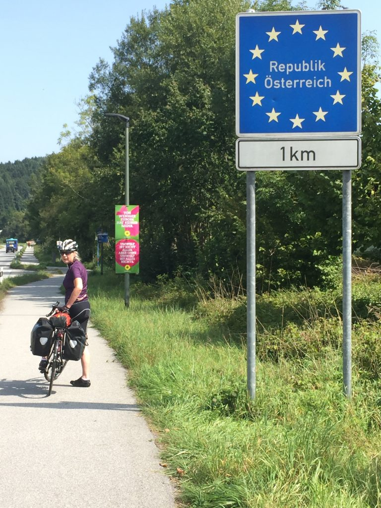 Cycling the Danube into Austria Wendys first border