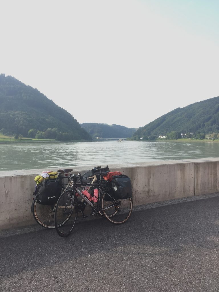 About to catch a bike ferry one the Danube Cycle route