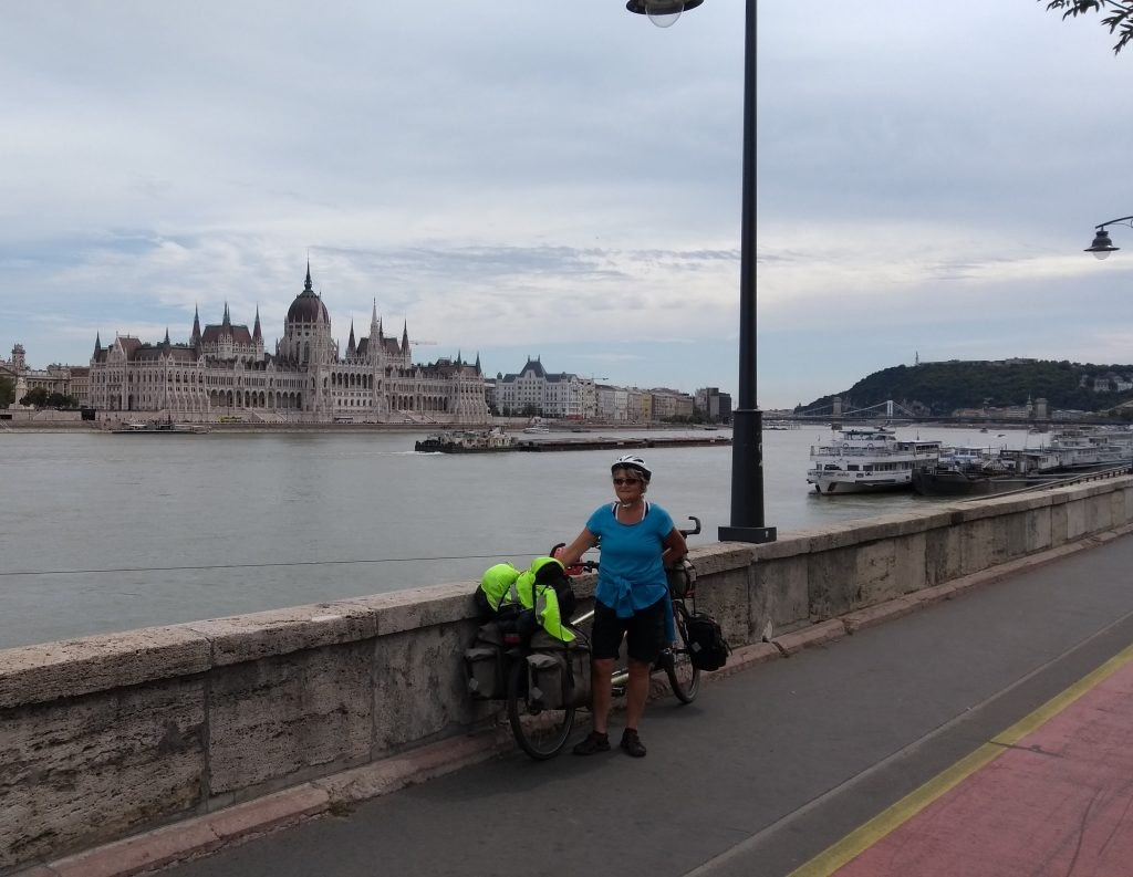 Our new heros Helen and Robin who rode to Budapest on a tandem to celebrate retirement - and carried on