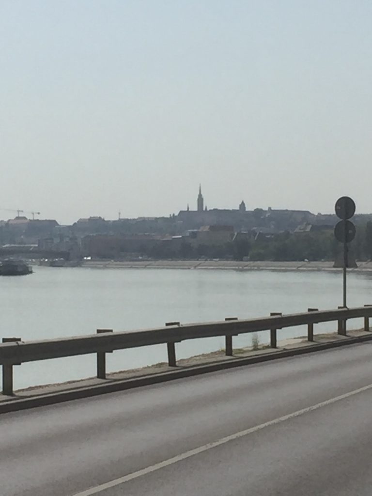 Our first view of Budapest on The Eurovelo6 Danube cycling