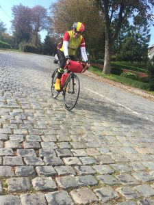 Yoiks we found some proper cobbles at Cassel not my favourite terrain however Alan looks comfortable